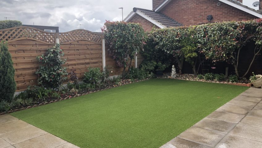 Artificial grass installation in Tuffley, Gloucestershire.